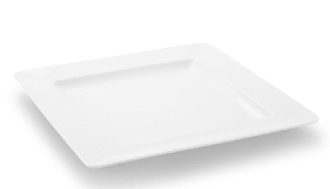 "Frühstücksteller eckig 21,5cm Jeverland ""Weiß"" Friesland Porzellan"