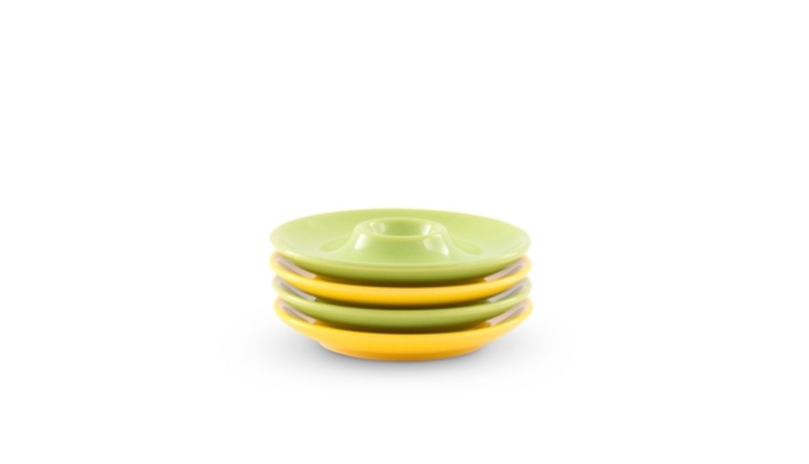 "4er-Set Eierbecher / Eierteller 13cm Happymix ""Zitrone/Limette"" Friesland Porzellan"